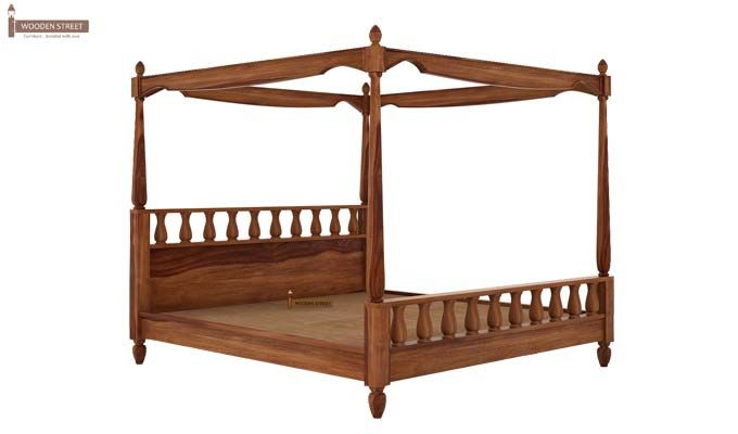Allure Poster Bed Without Storage (Queen Size, Teak Finish)-4