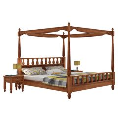 Allure Poster Bed Without Storage (Queen Size, Teak Finish)