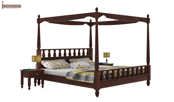 Allure Poster Bed Without Storage (King Size, Walnut Finish)-1