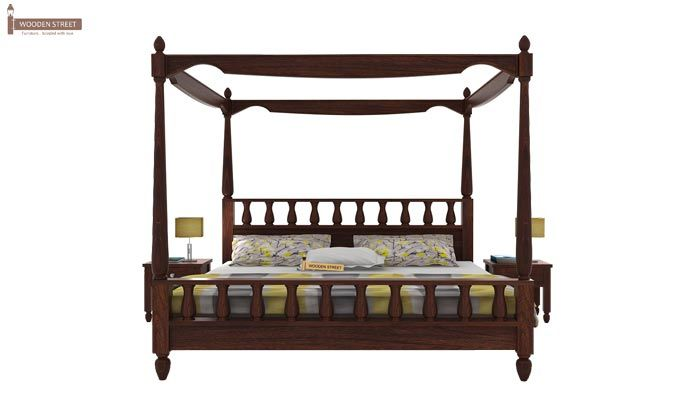 Allure Poster Bed Without Storage (King Size, Walnut Finish)-2