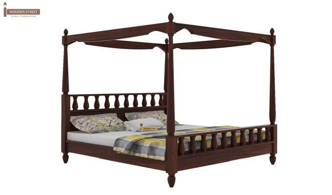 Allure Poster Bed Without Storage (King Size, Walnut Finish)-3