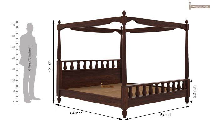 Allure Poster Bed Without Storage (Queen Size, Walnut Finish)-5