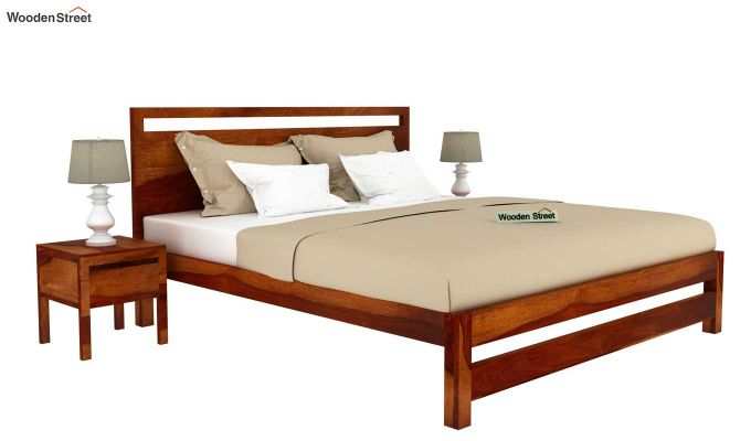 Bacon Bed without Storage (King Size, Honey Finish)-2