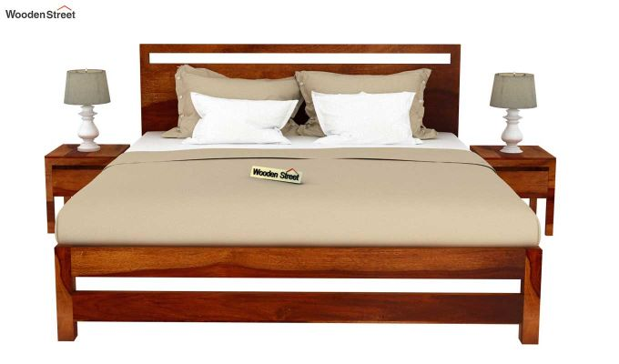 Bacon Bed without Storage (King Size, Honey Finish)-3