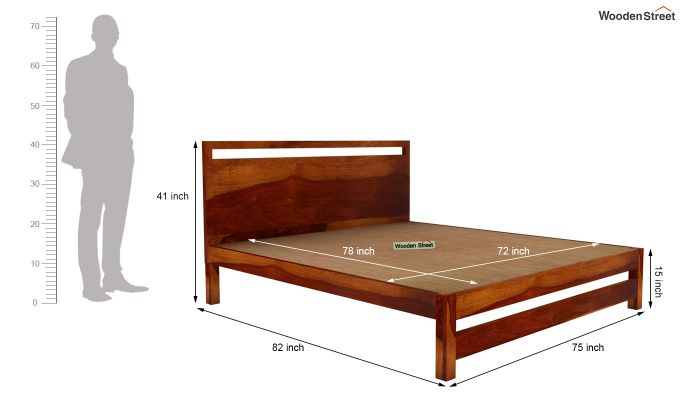 Bacon Bed without Storage (King Size, Honey Finish)-5