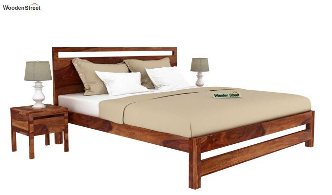 Bacon Bed without Storage (King Size, Teak Finish)-2