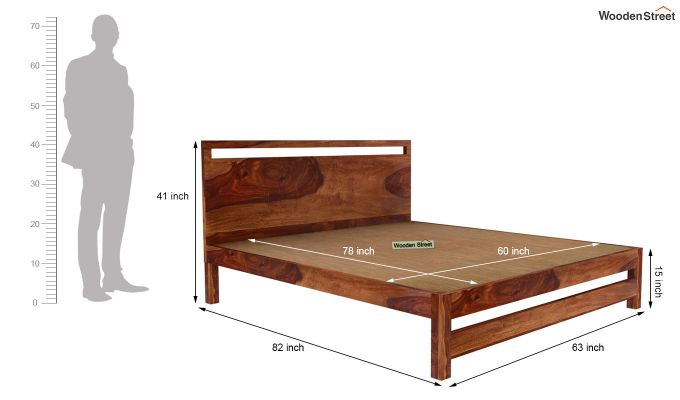 Bacon Bed without Storage (Queen Size, Teak Finish)-5
