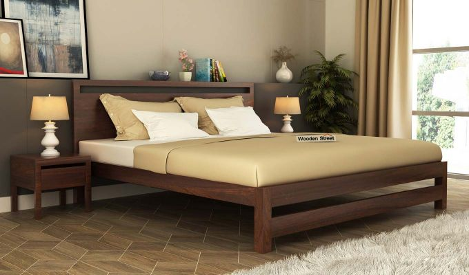 Bacon Bed without Storage (King Size, Walnut Finish)-1