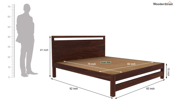 Bacon Bed without Storage (Queen Size, Walnut Finish)-5