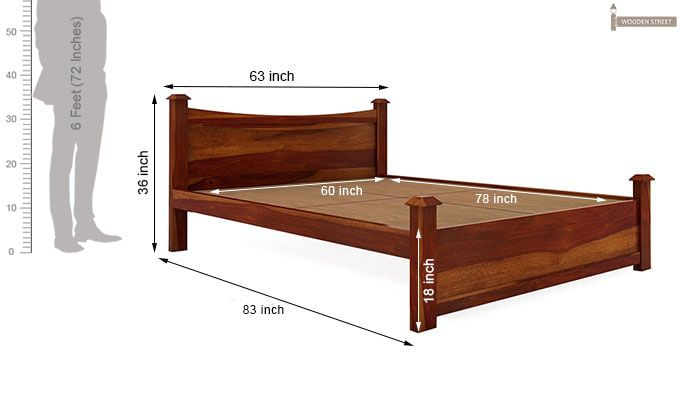 Christina Bed Without Storage (Queen Size, Honey Finish)-8