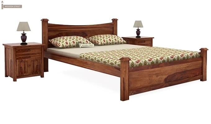 Christina Bed Without Storage (Queen Size, Teak Finish)-1
