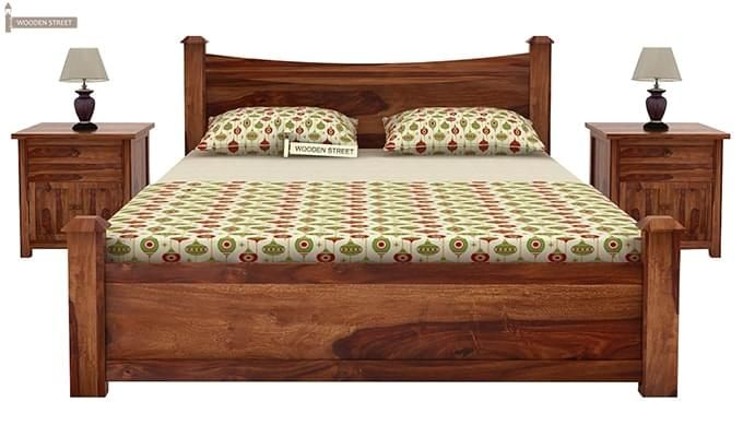 Christina Bed Without Storage (Queen Size, Teak Finish)-2