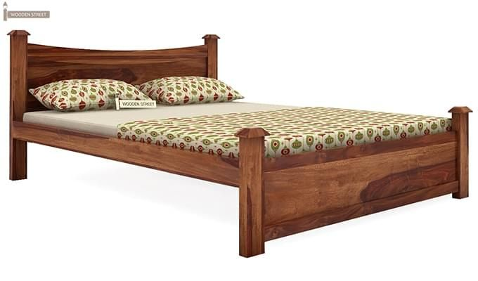 Christina Bed Without Storage (Queen Size, Teak Finish)-3
