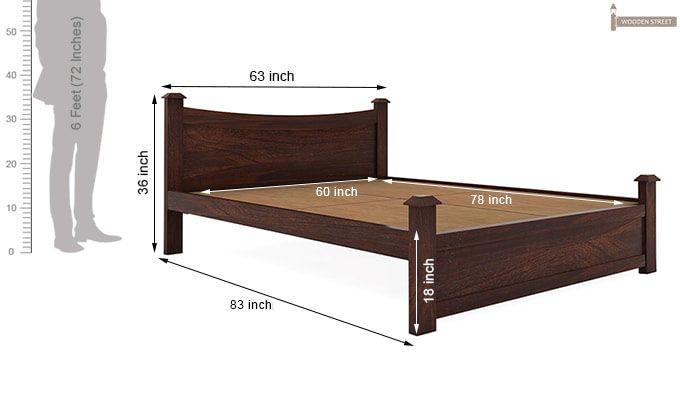 Christina Bed Without Storage (Queen Size, Walnut Finish)-9