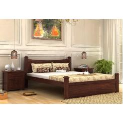 Christina Bed Without Storage (King Size, Walnut Finish)