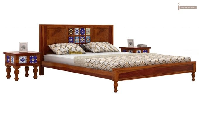 Boho Bed Without Storage (Queen Size, Honey Finish)-2