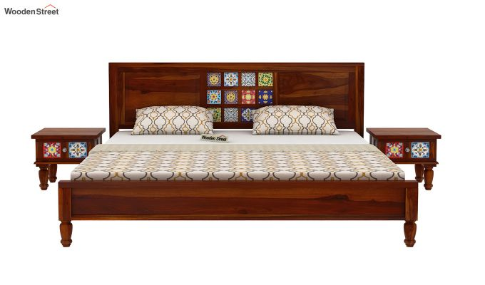Boho Bed Without Storage (Queen Size, Honey Finish)-3