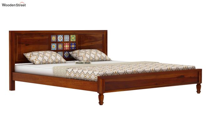 Boho Bed Without Storage (Queen Size, Honey Finish)-4