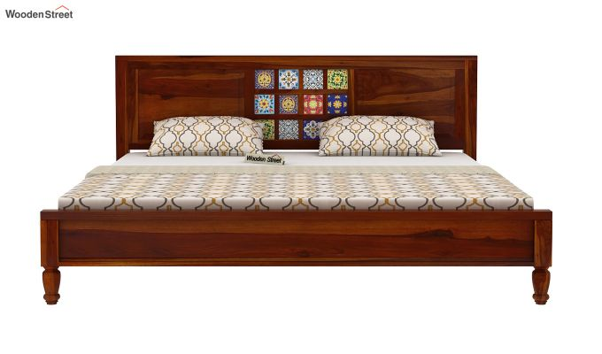 Boho Bed Without Storage (Queen Size, Honey Finish)-5