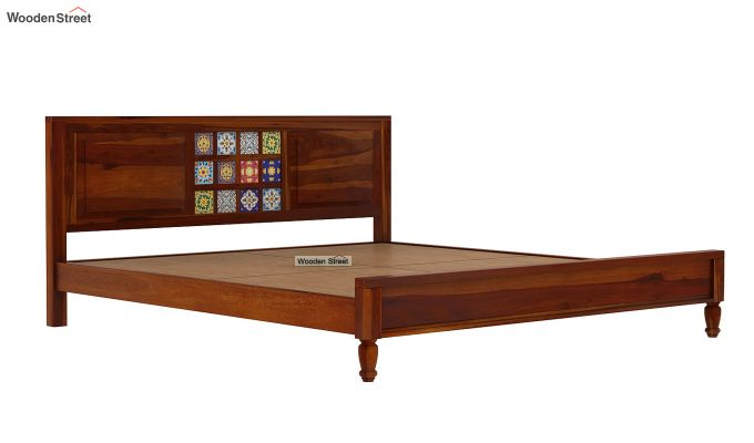Boho Bed Without Storage (Queen Size, Honey Finish)-6