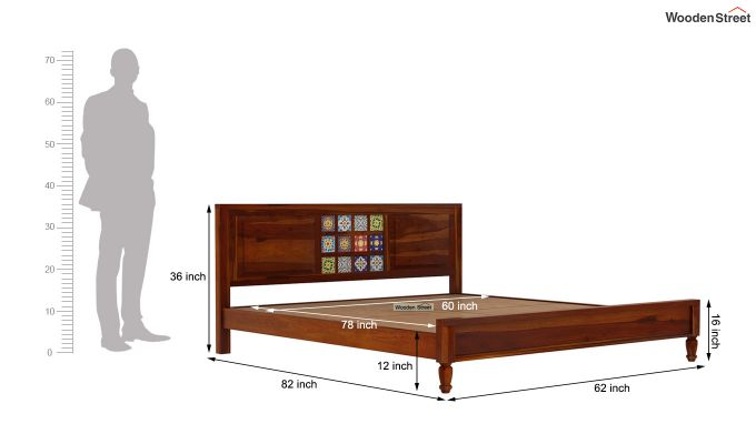 Boho Bed Without Storage (Queen Size, Honey Finish)-7