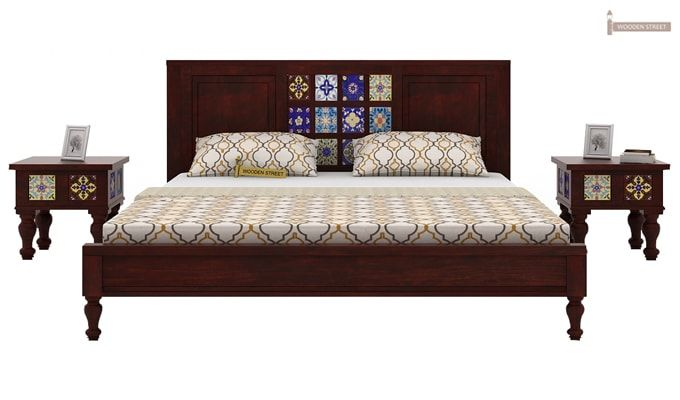 Boho Bed Without Storage (Queen Size, Mahogany Finish)-1