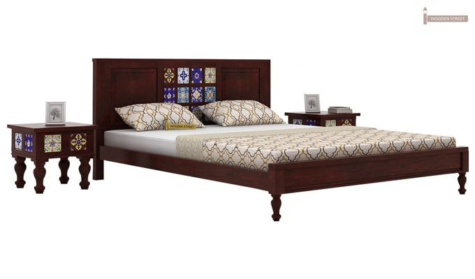 Boho Bed Without Storage (Queen Size, Mahogany Finish)-2