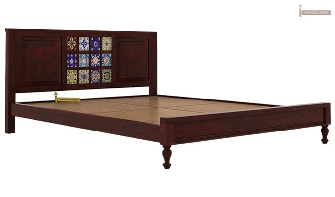 Boho Bed Without Storage (Queen Size, Mahogany Finish)-5