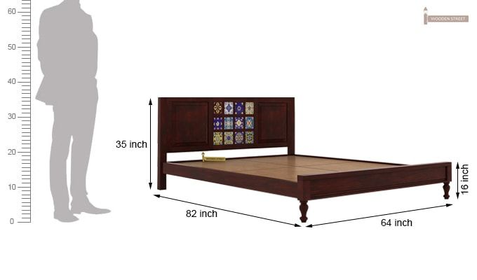Boho Bed Without Storage (Queen Size, Mahogany Finish)-6