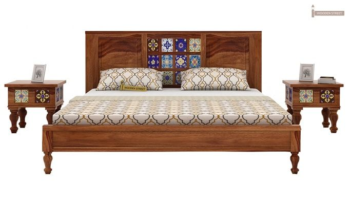 Boho Bed Without Storage (Queen Size, Teak Finish)-1