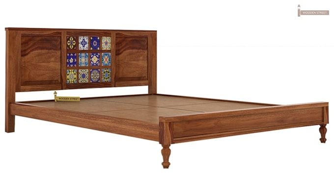 Boho Bed Without Storage (Queen Size, Teak Finish)-5