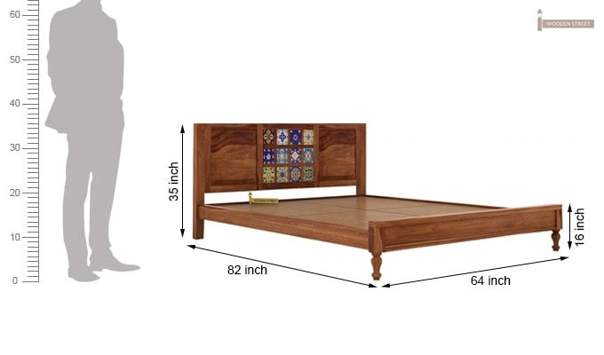 Boho Bed Without Storage (Queen Size, Teak Finish)-6