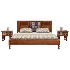 Boho Bed Without Storage (Queen Size, Teak Finish)