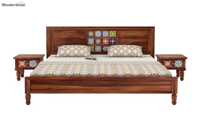 Boho Bed Without Storage (King Size, Teak Finish)-3