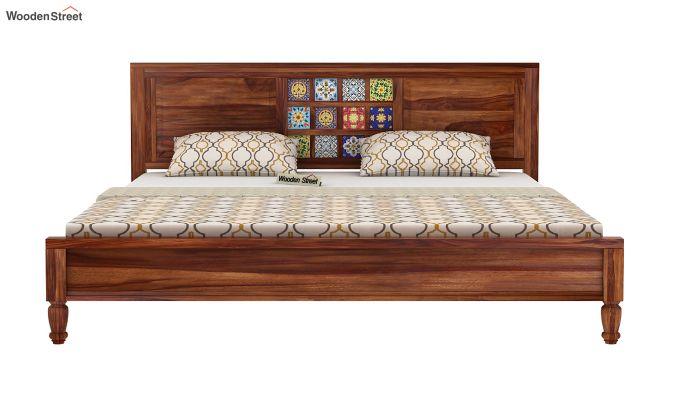 Boho Bed Without Storage (King Size, Teak Finish)-5