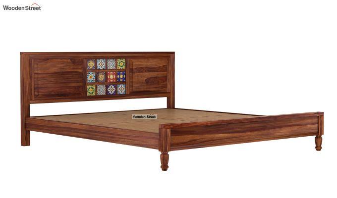 Boho Bed Without Storage (King Size, Teak Finish)-6