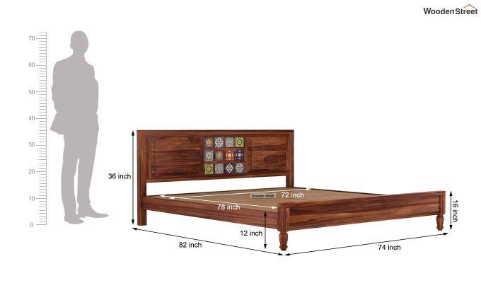 Boho Bed Without Storage (King Size, Teak Finish)-7