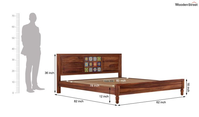Boho Bed Without Storage (Queen Size, Teak Finish)-7
