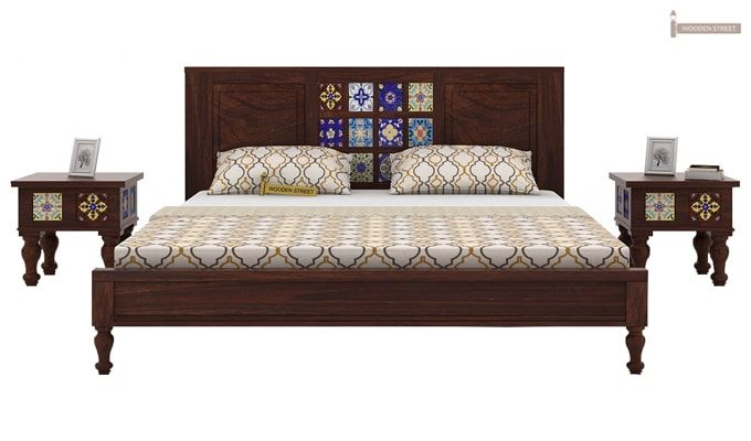 Boho Bed Without Storage (Queen Size, Walnut Finish)-1