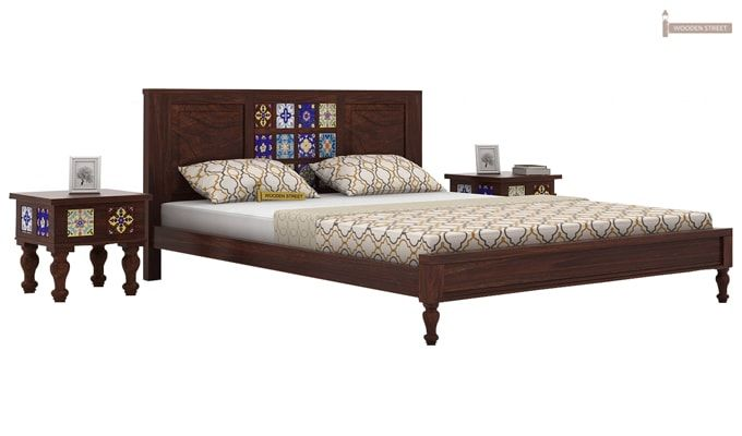 Boho Bed Without Storage (Queen Size, Walnut Finish)-2