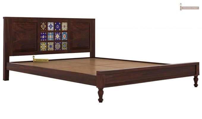 Boho Bed Without Storage (Queen Size, Walnut Finish)-4