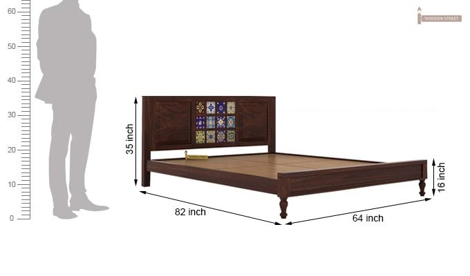 Boho Bed Without Storage (Queen Size, Walnut Finish)-6