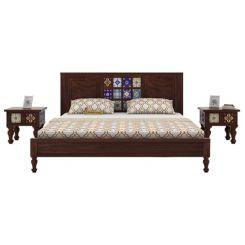 Boho Bed Without Storage (King Size, Walnut Finish)