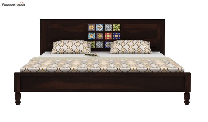 Boho Bed Without Storage (King Size, Walnut Finish)-5