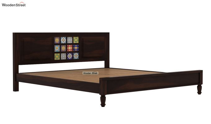 Boho Bed Without Storage (King Size, Walnut Finish)-6