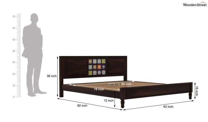 Boho Bed Without Storage (Queen Size, Walnut Finish)-7