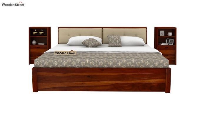 Bolivia Storage Bed With Bedside (Queen Size, Honey Finish)-5