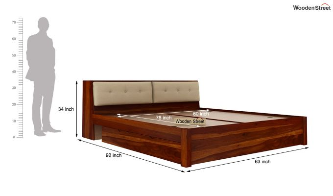 Bolivia Storage Bed With Bedside (Queen Size, Honey Finish)-11