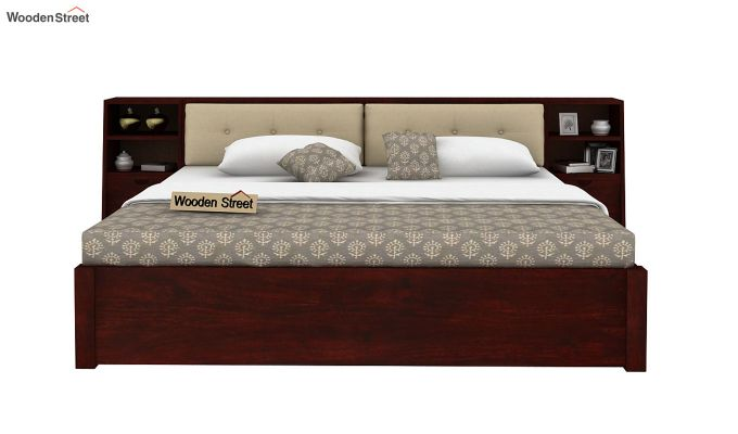 Bolivia Storage Bed With Bedside (King Size, Mahogany Finish)-2