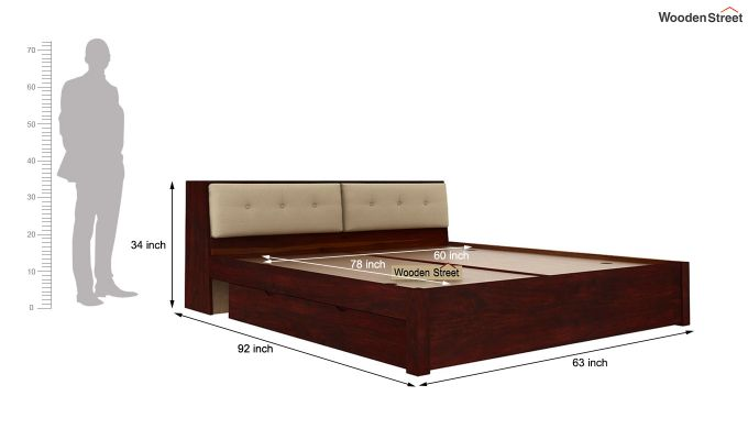 Bolivia Storage Bed With Bedside (Queen Size, Mahogany Finish)-8